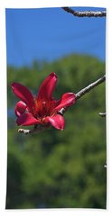 Red Silk Blossom Bath Towel