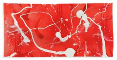 Hand Towel featuring the painting Red Spill by Thomas Blood
