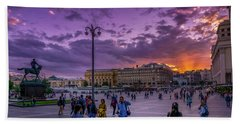 Red Square At Sunset Bath Towel