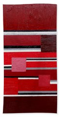 Red Square Hand Towel by Tara Hutton