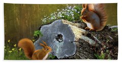 Red Squirrels Hand Towel by Thanh Thuy Nguyen