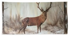 Hand Towel featuring the painting Red Stag by Jean Walker