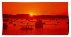 Red Sunrise At Lobster Village Hand Towel