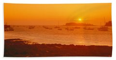 Red Sunrise At Lobster Village, Tenants Hand Towel