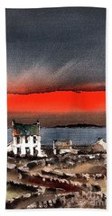 Red Sunset On Bungowla, Aran, Galway Bath Towel