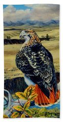 Red Tail Hawk Of Montana Hand Towel by Ruanna Sion Shadd a'Dann'l Yoder