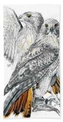 Red-tailed Hawk Hand Towel by Barbara Keith