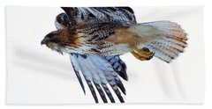 Red-tailed Hawk Winter Flight Hand Towel by Mike Dawson