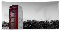 Red Telephone Box In The Snow Vi Bath Towel