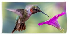 Hand Towel featuring the photograph Red Throated Hummingbird by Allin Sorenson