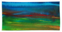 Bath Towel featuring the painting Red Tide Abstract by Jani Freimann
