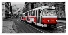 Red Tram Bath Towel by M G Whittingham