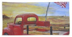 Hand Towel featuring the painting Red Truck by Debbie Baker