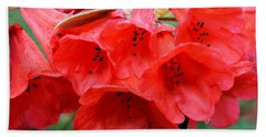 Red Trumpet Rhodies Bath Towel