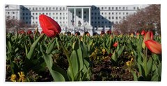 Hand Towel featuring the photograph Red Tulip At The Greenbrier by Laurinda Bowling
