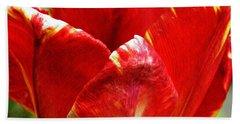 Red Tulip Bath Towel by Sarah Loft
