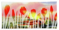 Red Tulips Abstract Silhouettes Hand Towel