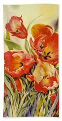 Red Tulips In My Garden Bath Towel