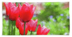 Hand Towel featuring the photograph Red Tulips In The Spring Garden by Jennie Marie Schell