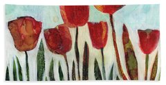 Red Tulips Bath Towel