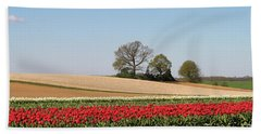Red Tulips Landscape Bath Towel