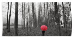 Red Umbrella In An Allee Hand Towel
