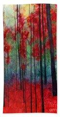 Red Velvet Hand Towel by Hailey E Herrera