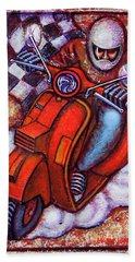 Hand Towel featuring the painting Red Vespa by Mark Howard Jones