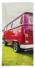 Red Vw T2 Camper Van Rear View Bath Towel