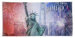 Red, White And Blue Hand Towel