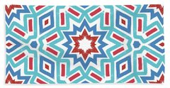 Red White And Blue Fireworks Pattern- Art By Linda Woods Bath Towel