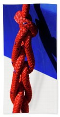 Red White And Blue Bath Towel by Sandy Molinaro