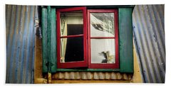 Bath Towel featuring the photograph Red Windows by Perry Webster
