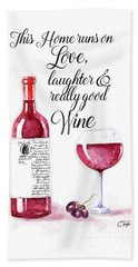 Hand Towel featuring the digital art Red Wine by Colleen Taylor