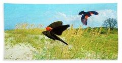 Red-winged Blackbirds Hand Towel