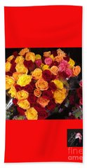 Red Yellow Pink Roses 1 Hand Towel by Richard W Linford