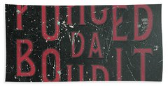 Hand Towel featuring the digital art Redblack Fuhgeddaboudit by Megan Dirsa-DuBois