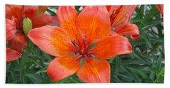 Reddish Orange Flower Bath Towel by Catherine Gagne