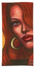 Hand Towel featuring the painting Redhead by Alga Washington
