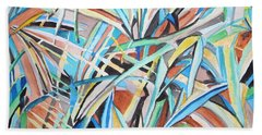 Bath Towel featuring the painting Reed Abstraction by Esther Newman-Cohen