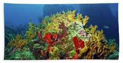 Reef Scene With Divers Bubbles Hand Towel