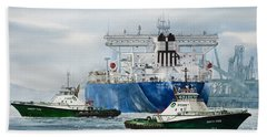 Refinery Tanker Escort Hand Towel by James Williamson
