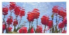Reflected Tulips Bath Towel