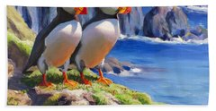 Reflecting - Horned Puffins - Coastal Alaska Landscape Hand Towel