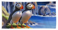 Horned Puffin Painting - Coastal Decor - Alaska Wall Art - Ocean Birds - Shorebirds Bath Towel