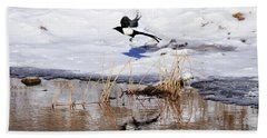 Reflecting Magpie Hand Towel