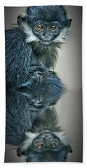 Bath Towel featuring the photograph Reflection Of A Francois Langur Monkey  by Jim Fitzpatrick