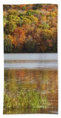 Reflection Of Autumn Colors In A Lake Hand Towel