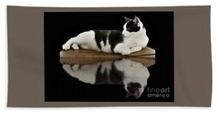 Reflection Of Black And White Cat Hand Towel