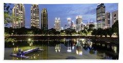 Reflection Of Jakarta Business District Skyline During Blue Hour Bath Towel